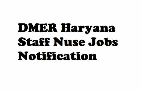 DMER Haryana Recruitment