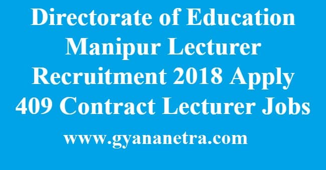 Directorate of Education Manipur Lecturer Recruitment