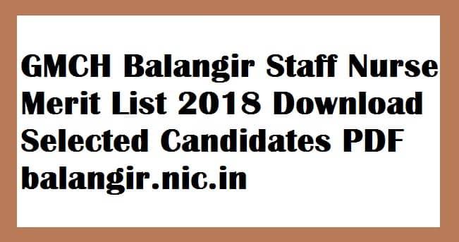 GMCH Balangir Staff Nurse Merit List