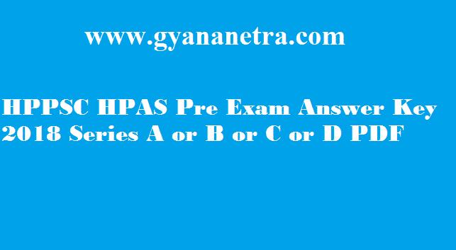 HPPSC HPAS Answer Key 2018