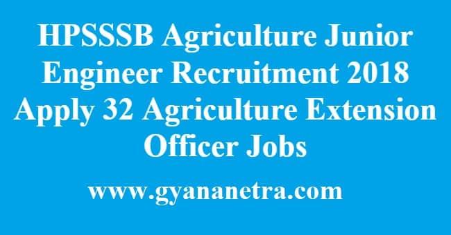 HPSSSB Agriculture Junior Engineer Recruitment