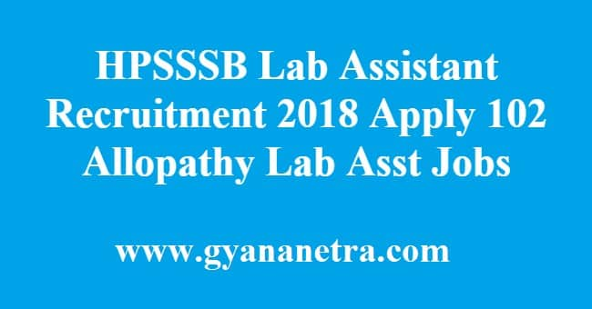 HPSSSB Lab Assistant Recruitment