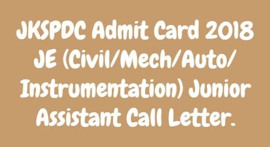 JKSPDC Admit Card