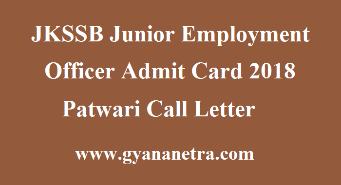 JKSSB Junior Employment Officer Admit Card