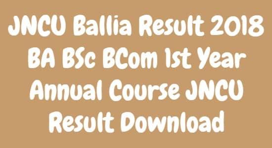 JNCU Ballia Result