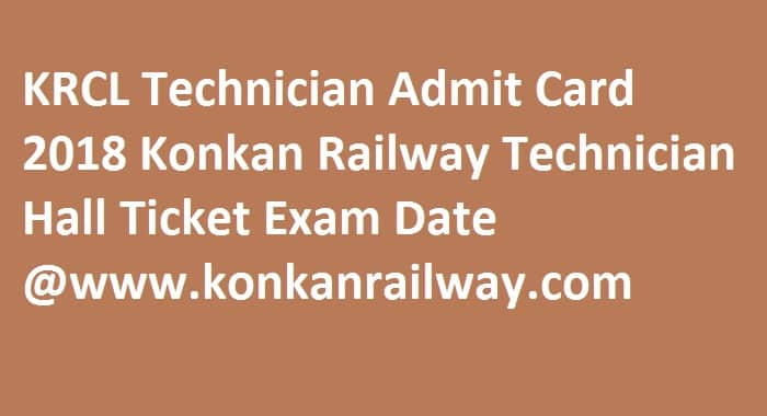 KRCL Technician Admit Card 2018