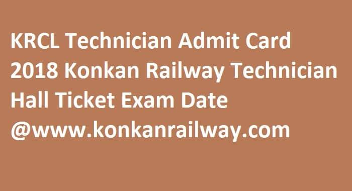 KRCL Technician Admit Card 2018