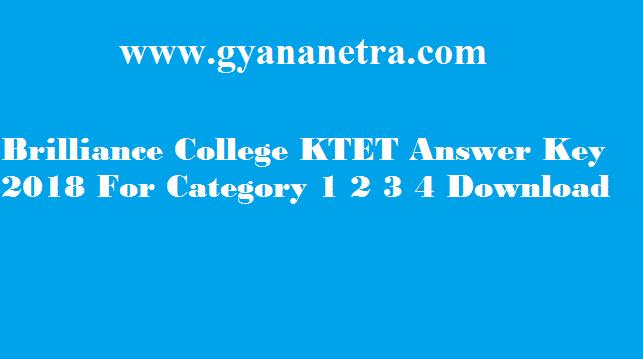 Brilliance College KTET Answer Key 2018