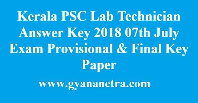 Kerala PSC Lab Technician Answer Key