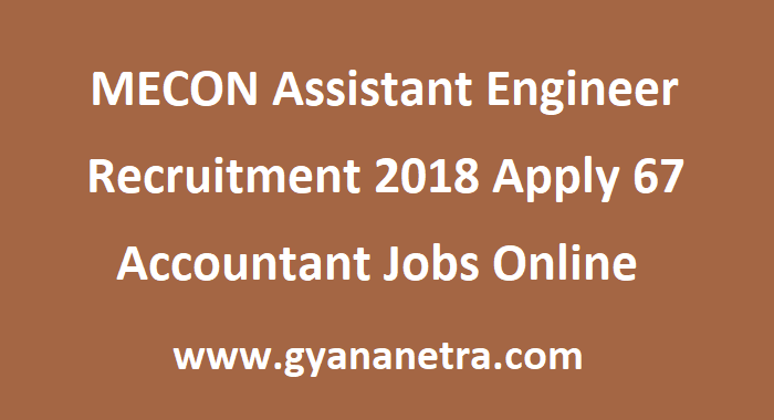 MECON Assistant Engineer Recruitment
