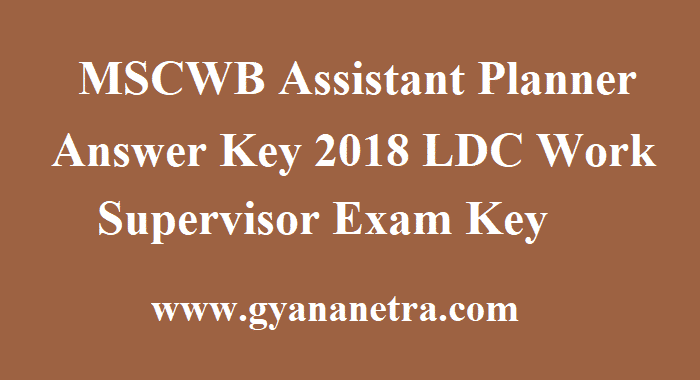 MSCWB Assistant Planner Answer Key