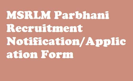MSRLM Parbhani Recruitment