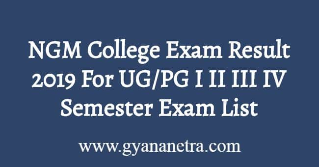 NGM College Exam Result 2019