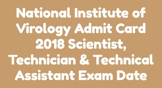 National Institute of Virology Admit Card