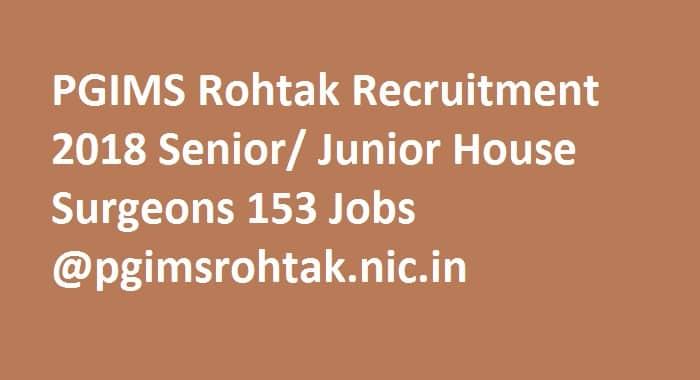 PGIMS Rohtak Recruitment 2018