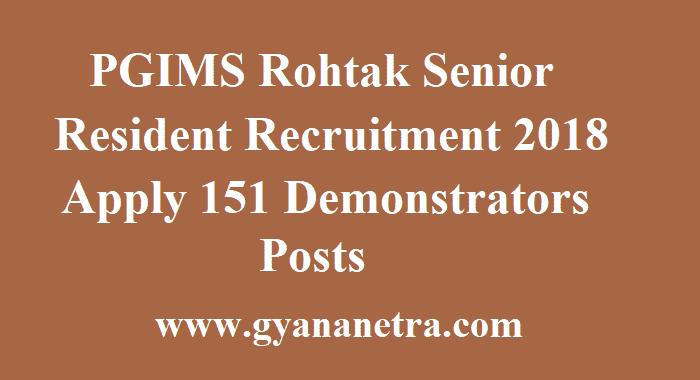PGIMS Rohtak Senior Resident Recruitment