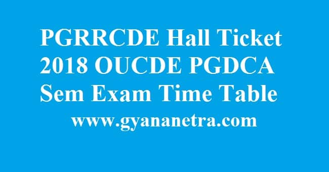 PGRRCDE Hall Ticket