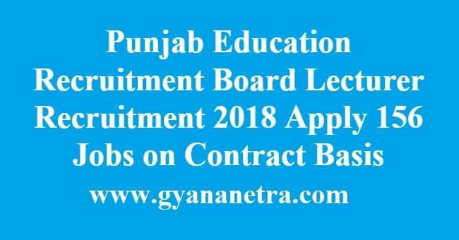 Punjab Education Recruitment Board Lecturer Recruitment
