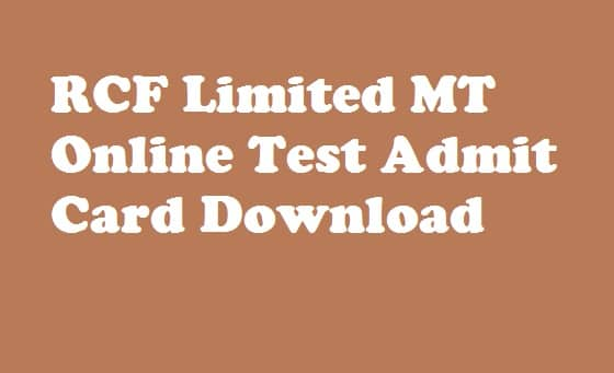 RCFL Management Trainee Admit Card