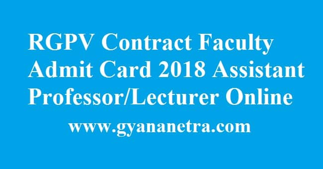 RGPV Contract Faculty Admit Card