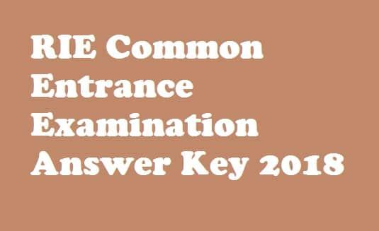 RIE CEE Answer Key 2018