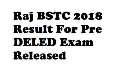 Raj BSTC 2018 Result