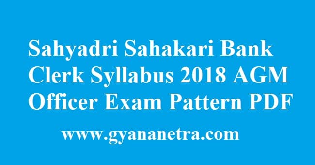 Sahyadri Sahakari Bank Clerk Syllabus