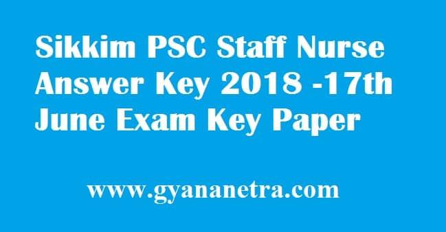 Sikkim PSC Staff Nurse Answer Key