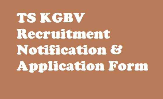 TS KGBV PGCRT Recruitment 2018