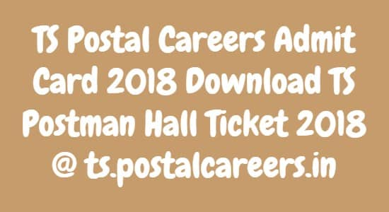 TS Postal Careers Admit Card