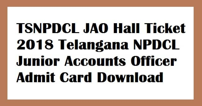TSNPDCL JAO Hall Ticket