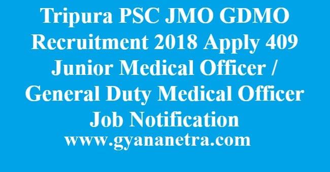 Tripura PSC JMO GDMO Recruitment