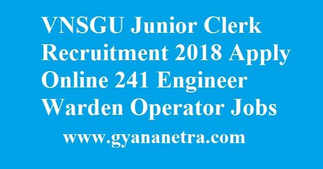 VNSGU Junior Clerk Recruitment
