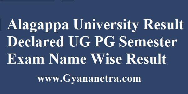 Alagappa University Result Declared UG PG Semester Exam