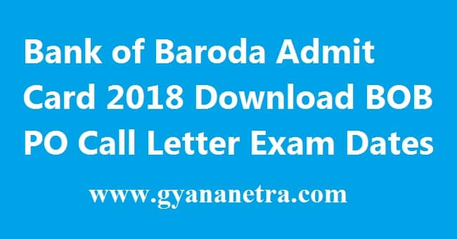 Bank of Baroda Admit Card
