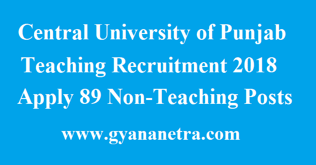 Central University of Punjab Teaching Recruitment