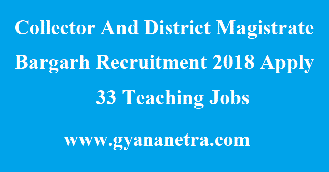 Collector And District Magistrate Bargarh Recruitment