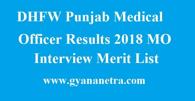 DHFW Punjab Medical Officer Results