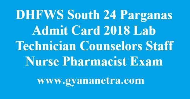 DHFWS South 24 Parganas Admit Card