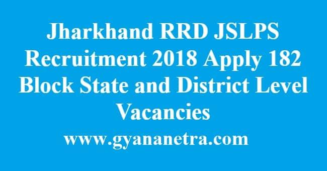 Jharkhand RRD JSLPS Recruitment
