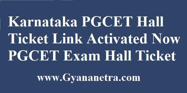 Karnataka PGCET Hall Ticket Download