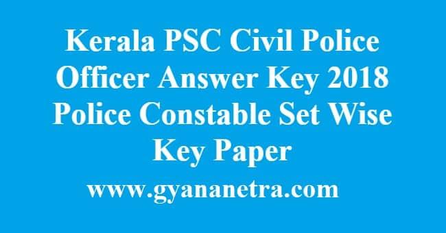 Kerala PSC Civil Police Officer Answer Key