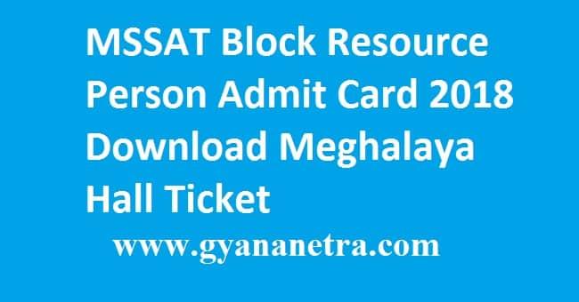 MSSAT Block Resource Person Admit Card 2018