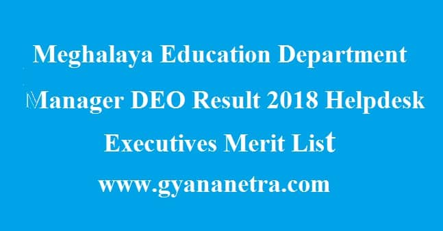 Meghalaya Education Department Manager DEO Result