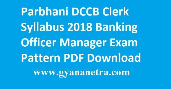 Parbhani DCCB Clerk Syllabus 2018