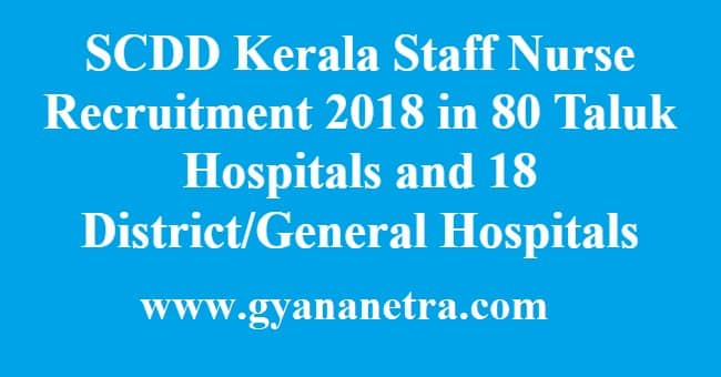 SCDD Kerala Staff Nurse Recruitment