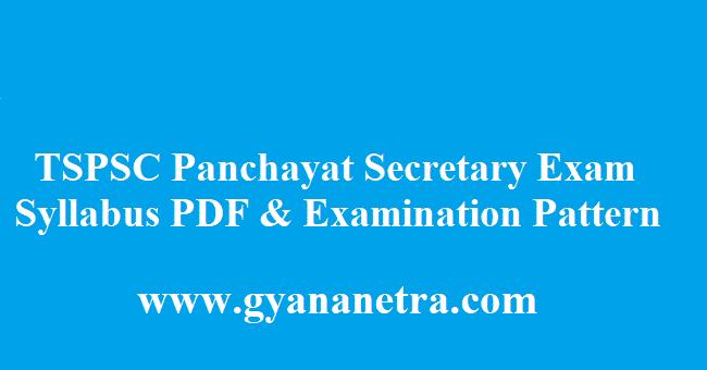 TSPSC Panchayat Secretary Syllabus 2018 PDF