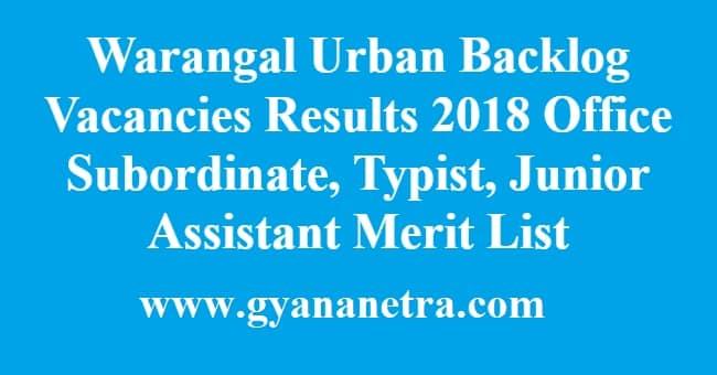 Warangal Urban Backlog Vacancies Results