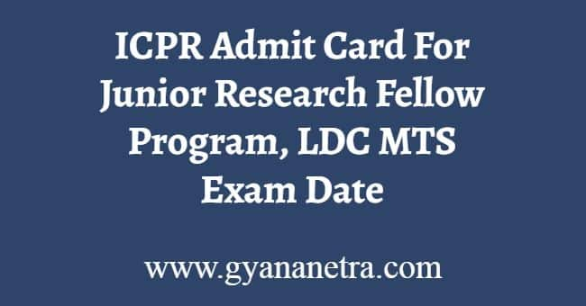 ICPR Admit Card Download