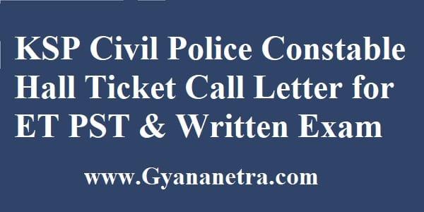KSP Civil Police Constable Hall Ticket Exam Dates